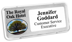 Reusable plastic name badges - Clear border and brushed silver background | www.namebadgesinternational.ie